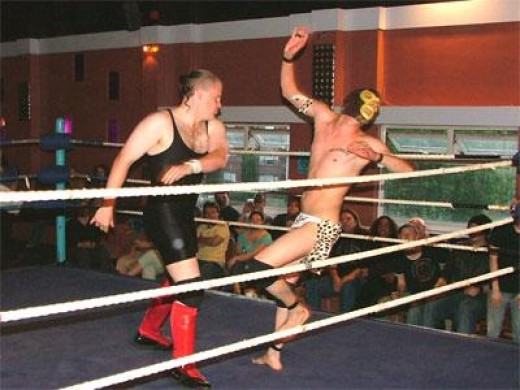 Some poor trainee in a mask taking a beating during a rumble!