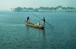 Bamboo Pole pushed boat