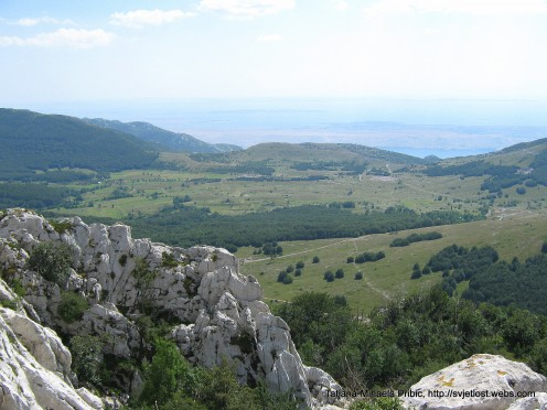 View from top of Kiza (Dabarski kukovi) on Adriatic sea and Island Pag