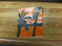 How To Make A Tropical Sunset Quarter-Fold Card With Colored Pencil Drawings