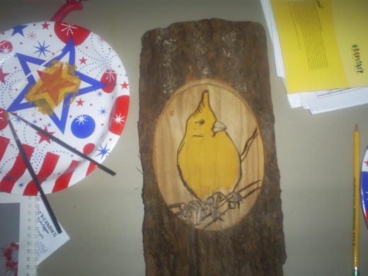 This is a picture of what my woodburning looked like when I first started painting.