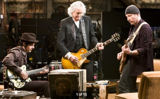 Left to Right - Jack White, Jimmy Page, The Edge