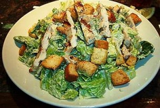 Delicious Caesar Salad And Chicken Salad