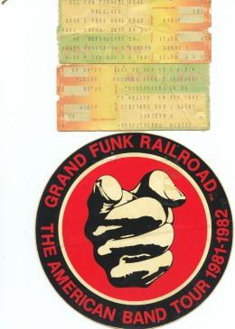 Tickets and bumper sticker.Hara arena 1981