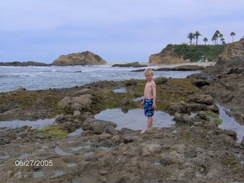 This is a good picture of some tide pools. Later, waves will be crashing over this whole area.