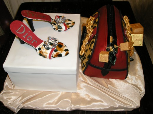 purse, shoes and shoe box, all edible