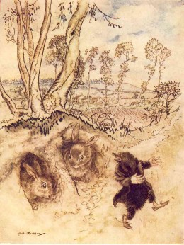 """""""Onion-sauce! Onion-sauce!"""" he remarked jeeringly, and was gone before they could think of a reply. Mole enjoying spring. Illustration by Arthur Rakham"""