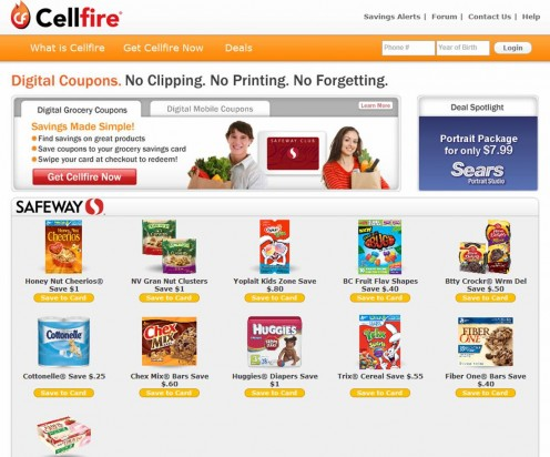 "This is the Cellfire.com homepage. Click on ""Get Cellfire Now"" to create an account."