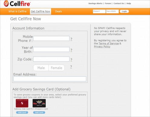 "After clicking on ""Get Cellfire Now,"" this screen will come up.  Fill out the information and click ""register"" to complete the creation of your account."