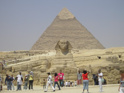 Sphinx with Pyramid of Kephren in background.  Photo by Glendon Caballero.