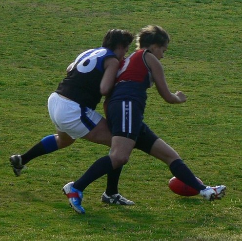 Aggression channeled to sports (public domain).