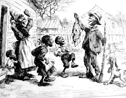Arthur Burdett Frost  (1851-1928) Christmas Dinner Pen and ink n.d. This is a frequent piece shown during Murray Tinkelman's history of illustration lecture. It resides in the collection of Jane and Ben Eisenstat.