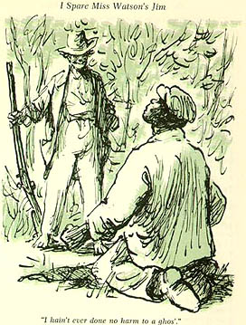 """Warren Chappell (Detail)""""I hain't ever done no harm to a ghos'""""  Huckleberry Finn  Macmillan Edition Ink and wash 1978"""