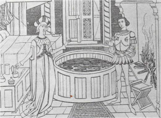 Bathing as a pleasurable necessity continued for a time in the Middle Ages in spite of Christian opposition to it.