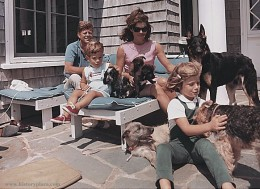 Jackie Kennedy wearing her shorts on her porch