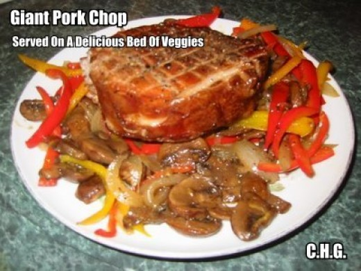 Serve your giant pork chops on a bed of delicious vegetables. The recipe for your vegetables is below.