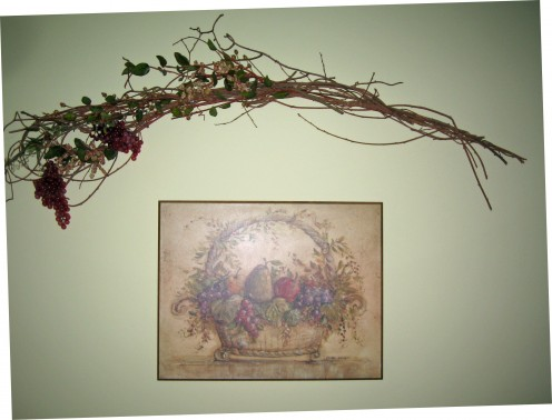 wall art with floral spray
