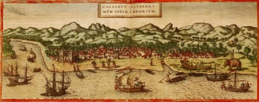 "Drawing of pepper trading in the Portuguese port of Calicut, India. From the atlas ""Civitates orbis terrarum"", 1572."