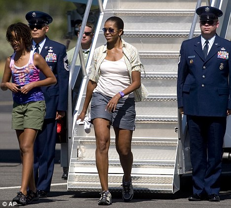 Michelle Obama and her daughter on their recent visit to the Grand Canyon