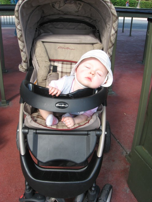 Violet was a little tuckered out on her first day at Disney as well