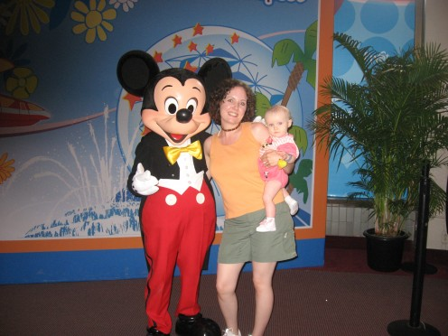 Hope and me meeting Mickey Mouse