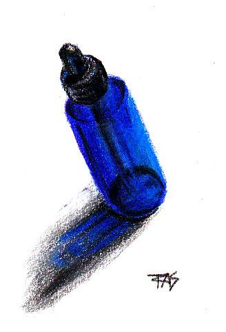 Cobalt blue eyedropper bottle rendered in Koh-I-Noor Polycolor Art Set leads on white paper by Robert A. Slon
