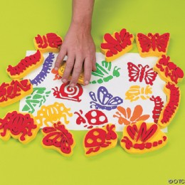 Foam stamps can be made at home for custom designs.