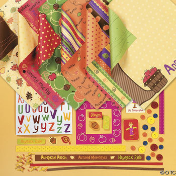 Scrapbook paper kits come with coordinating embellishments!