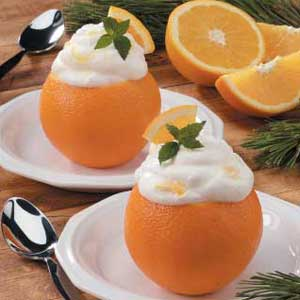 Oranges filled with cream