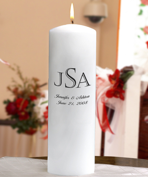 Add a monogram to your unity candle to create a lasting keepsake that can be lit on every anniversary to celebrate your wedding day!