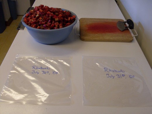 This looks like a lot of rhubarb, but I'm guessing it won't quite fill these two one-gallon sacks. Estimate the best you can, and pre-label, so any condesation doesn't effect the ink.