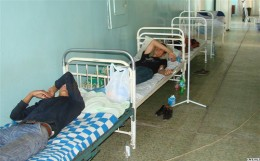 Beds in a hospital corridor. Also very typical for overcrowded soviet hospitals.