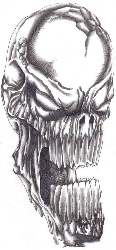 The evil skull demon pen and ink drawing.