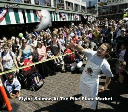 One Of The Famous Flying Salmon's At The Pike Place Market