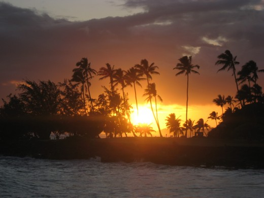 sunset over Poipu