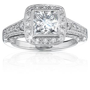 Featuring princess cut diamond engagement rings