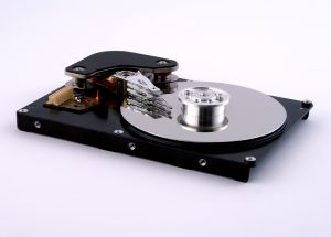 Inside look at a hard drive.