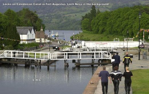 Locks on Caledonian Canal in Fort Augustus, Loch Ness in the background