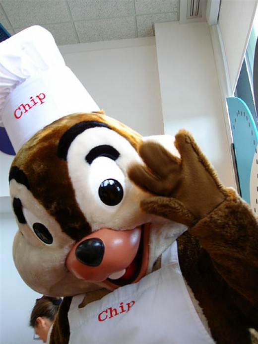 Chip waves hello at Chef Mickey's