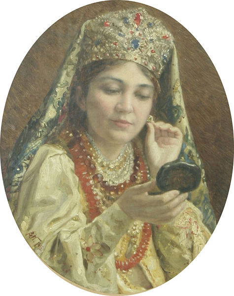 Vladimir Egorovich Makovsky: Young Lady Looking into a Mirror, 1916. Courtesy Wiki Commons