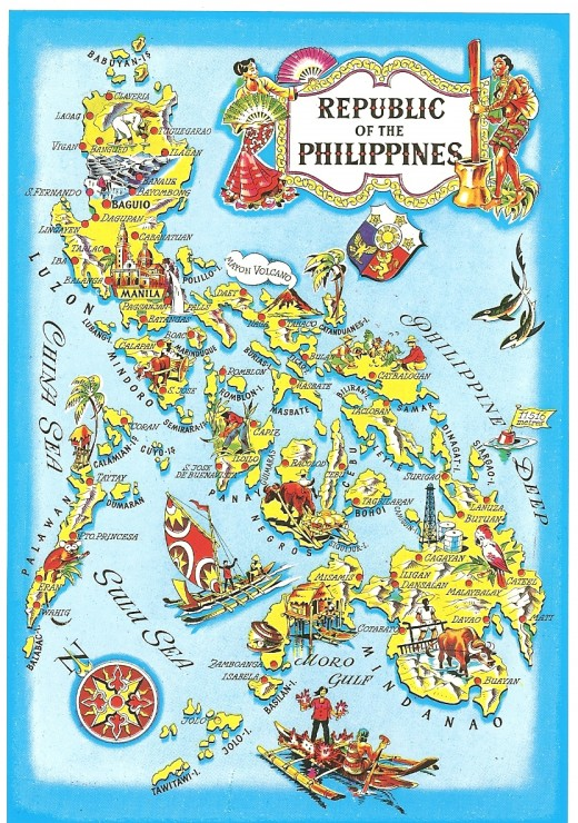 Map of the Philippines postcard from http://www.filipinobooks.com/