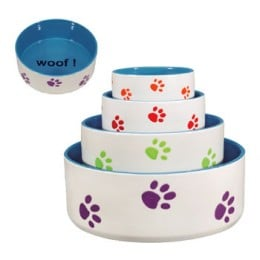 Ceramic dog dishes come in many colors and patterns!
