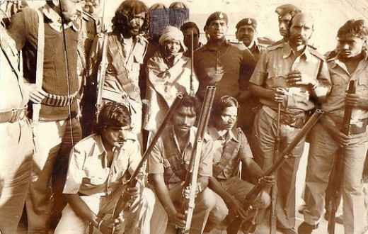 The surrender of Phoolan Devi and her gang. She is in the middle