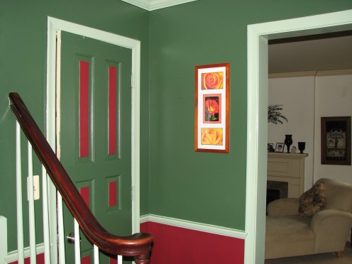The vestibule or entrance when you enter the front door that leads upstairs, into the dining room and living room