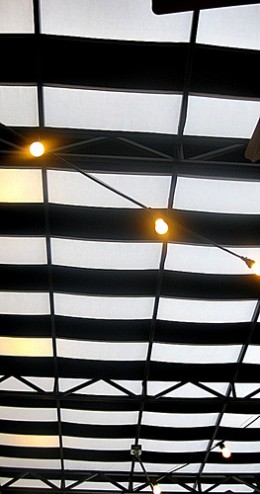 Outdoor patio canopy lighting can make your patio more elegant and dramatic.  Photo by http://www.flickr.com/photos/forestelf/3550861322/