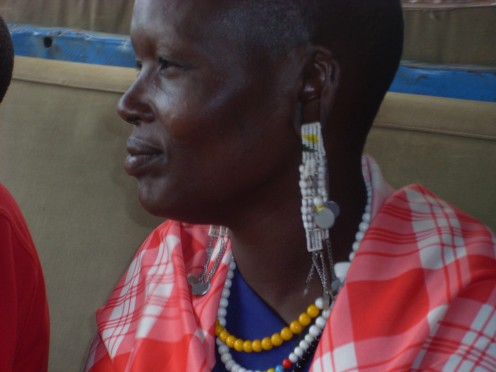 Masai woman who caught a lift into town with us