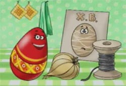 Scene from a Russian ad for a new egg dye to relace onion skins