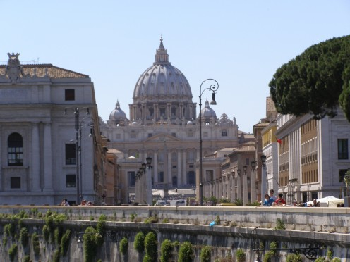 St Peter's Basilica (Vatican City), as seen from the Bridge of Angels in Rome.