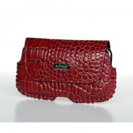 Crocodile Embossed Red Leather Lateral Case for iPhone