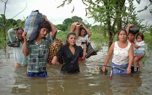 Flood survivors in Ecuador.